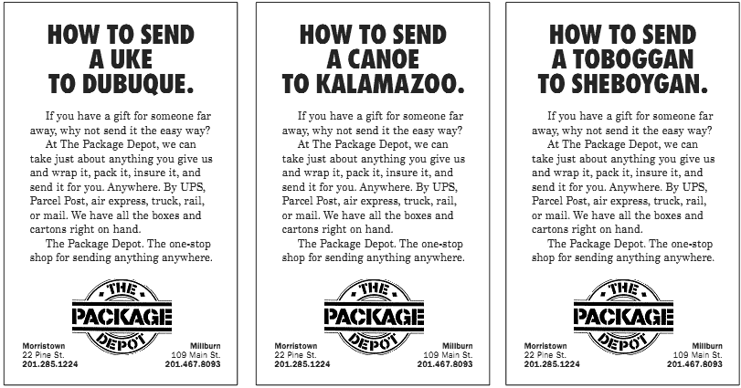The Package Depot Ad Campaign